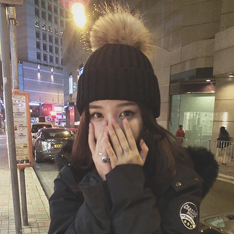 帽子女冬季韩版百搭学生毛球毛线帽潮冬天韩国时尚针织帽加厚保暖