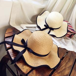 帽子女海边夏天防晒太阳草帽出游大檐沙滩遮阳帽夏休闲百搭韩版潮