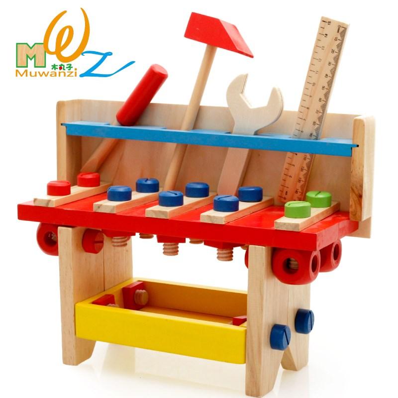 木丸子益智力婴幼儿童木制工具台拼拆装螺母组合玩具3-5-6岁以上