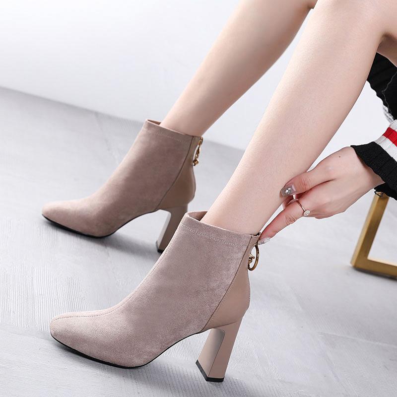 粗跟马丁靴女2019新款高跟靴子拉链百搭加绒方头短靴女棉鞋秋冬季