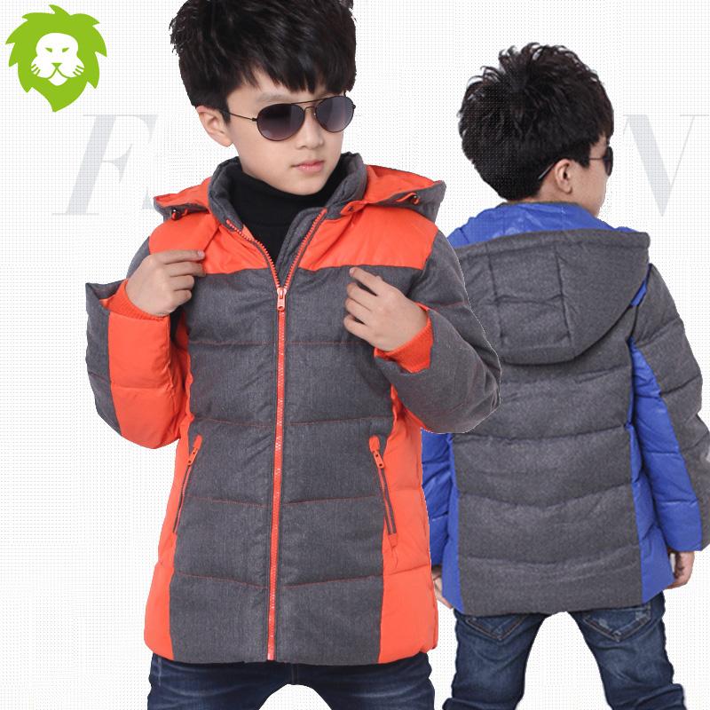 2017韩版童装中大童冬装男童棉衣外套连帽加厚棉袄男孩中长款棉