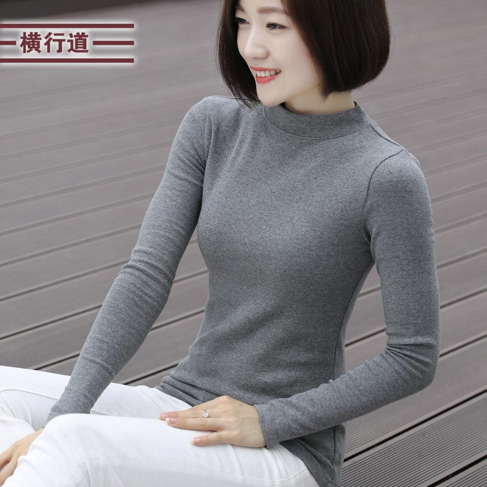 秋冬装新款韩版半高领女装打底衫大码胖mm棉女士上衣服长袖女t恤