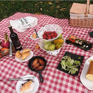 田园3-5人秋游日式春游野餐布户外便携儿童白格子垫子3米不粘草