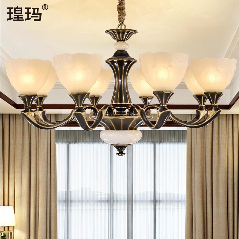 美式全铜玻璃吊灯美发店灯具发廊理发店led灯创意个性复古超亮灯-瑝玛旗舰店