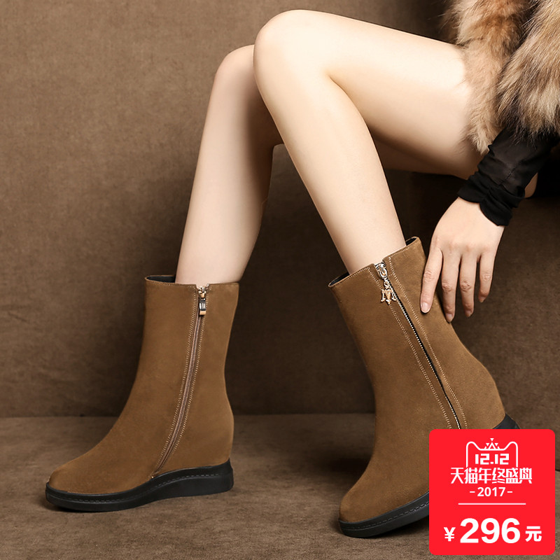 中筒靴女平底内增高雪地靴加绒冬季靴子女厚底短靴马丁靴真皮棉鞋