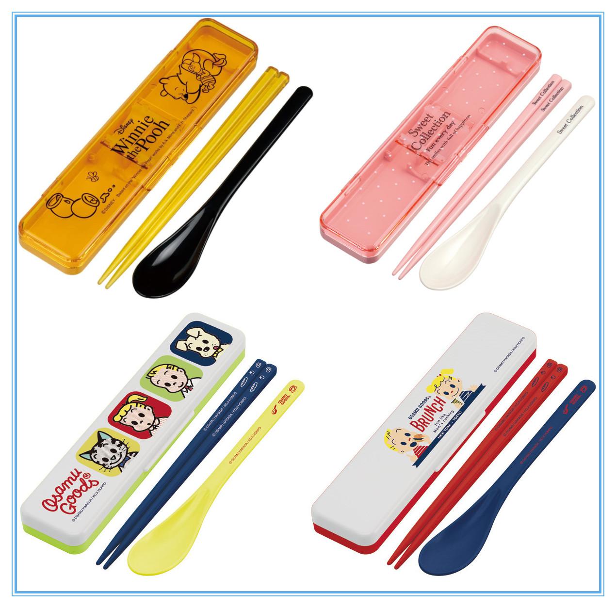 日本制skater斯凯达卡通儿童餐具筷子勺子套装外出便携套两2件套