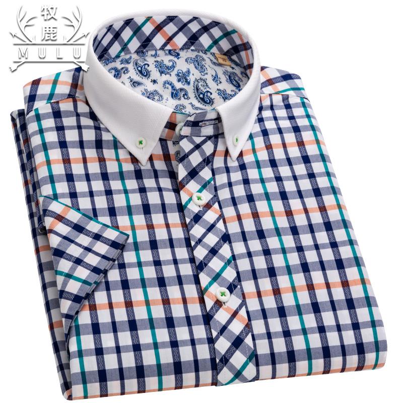 牧鹿夏季男士短袖格子纯棉衬衫商务休闲青年男装全棉韩版修身寸衫
