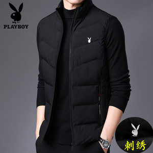 Playboy autumn and winter new men's clothing thickened vest warm cotton vest cold suit vest sleeveless sleeveless