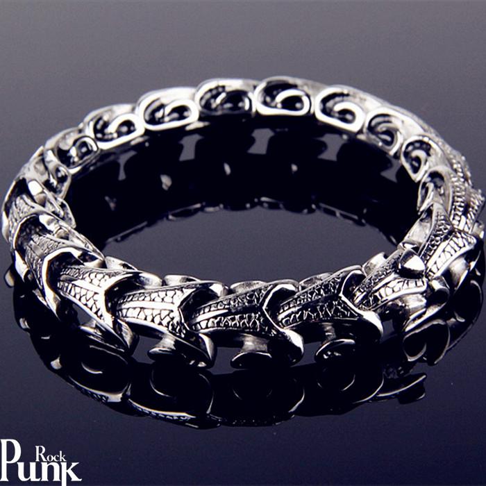 朋克风霸气龙骨手链男韩版欧美摇滚潮人个性钛钢复古夸张钛钢饰品