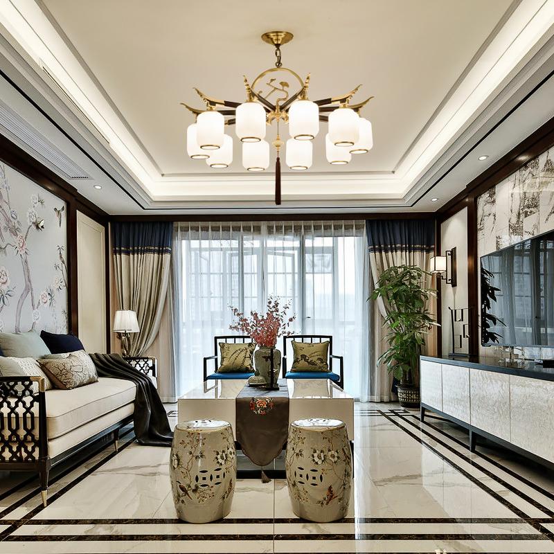 新中式吊灯全铜客厅简约现代大气卧室中国风餐厅大堂别墅木质灯具-依维特旗舰店