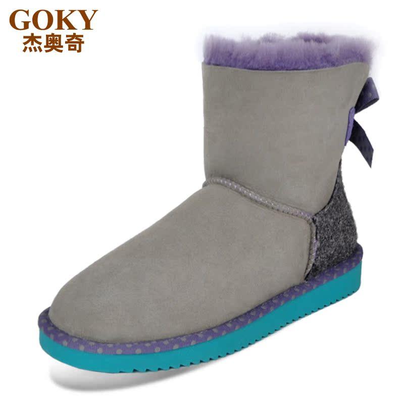 GOKY新款防滑牛筋底短筒靴真皮蝴蝶结羊皮毛一体雪地靴女冬季棉鞋