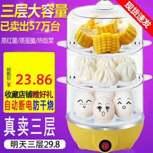 Breakfast artifact multi-function automatic power-off egg steamer anti-dry-boiled egg scrambler household double-layer large-capacity egg cooker