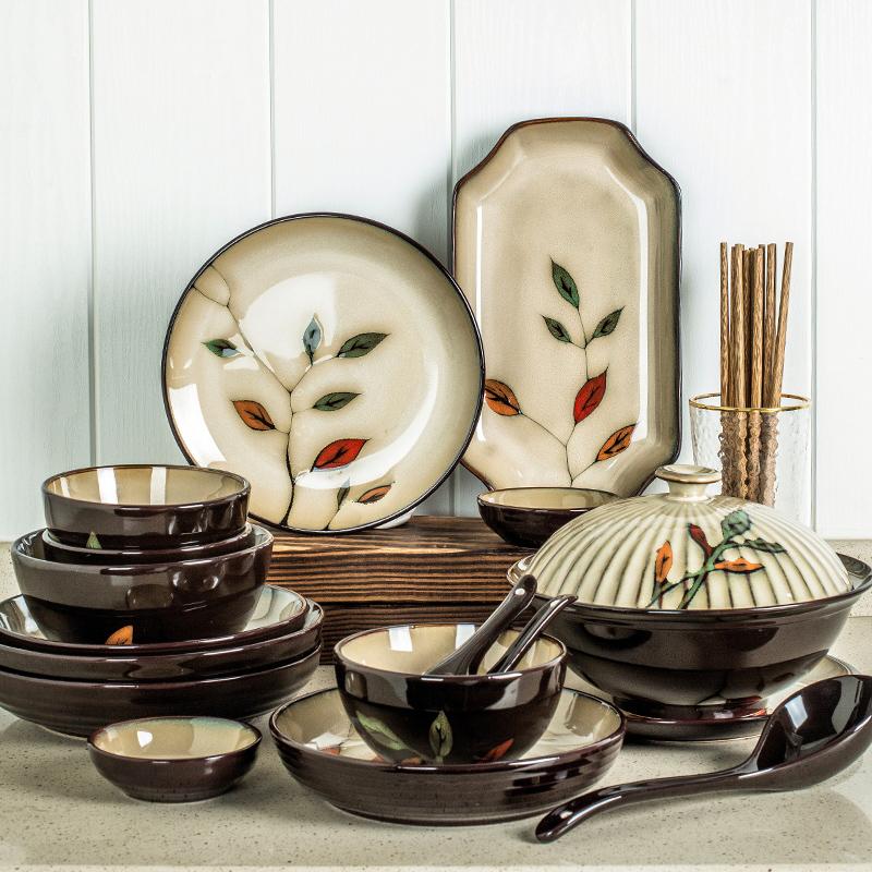 碗碟套装 家用日式简约个性6人10人创意盘子汤碗饭碗陶瓷组合餐具