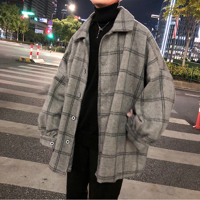 宽松加厚学生短款男士毛呢外套冬季潮流英伦格子呢子大衣韩版风衣