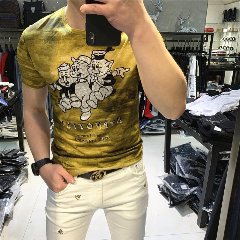 19夏季新款欧洲站康丽机数码印花小猪烫钻圆领短袖丝光棉T恤男