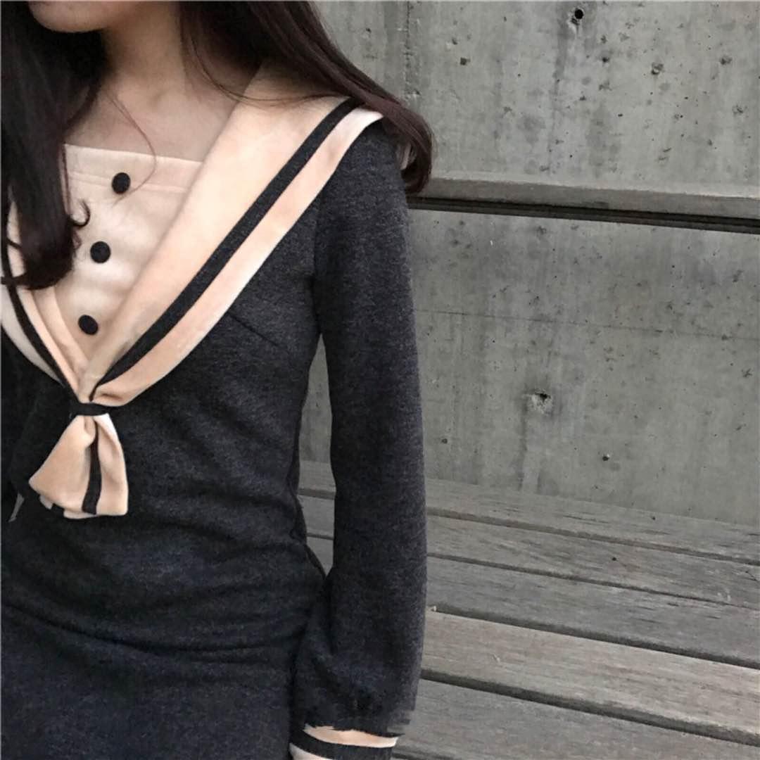 学院 水手 海军 连衣裙