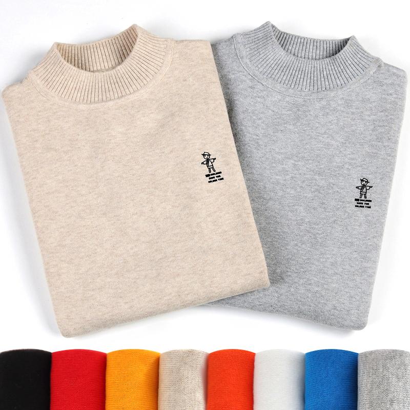 儿童毛衣男童春秋款女针织衫圆领高领打底衫中大童男孩宝宝棉线衣