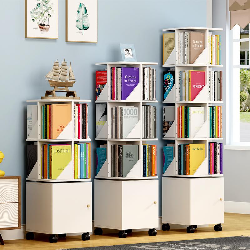 旋转书架360度书柜落地置物架学生儿童收纳柜多功能储物柜带轮