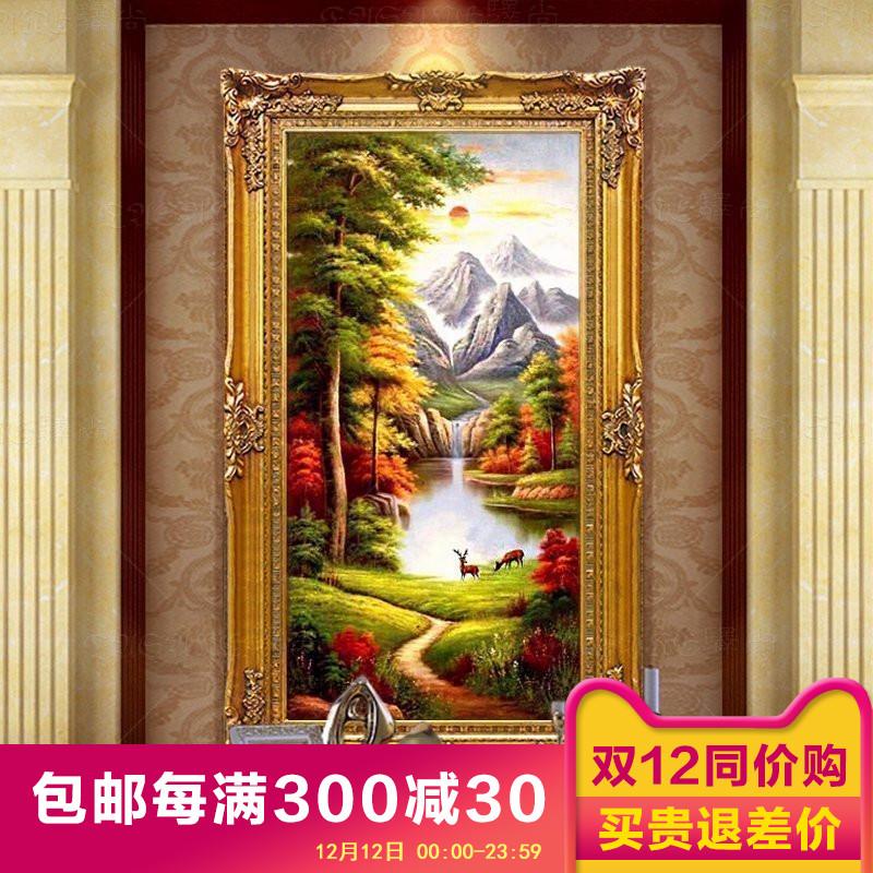 欧式 手绘 油画 山水 风景 客厅 玄关 装饰画 聚宝盆