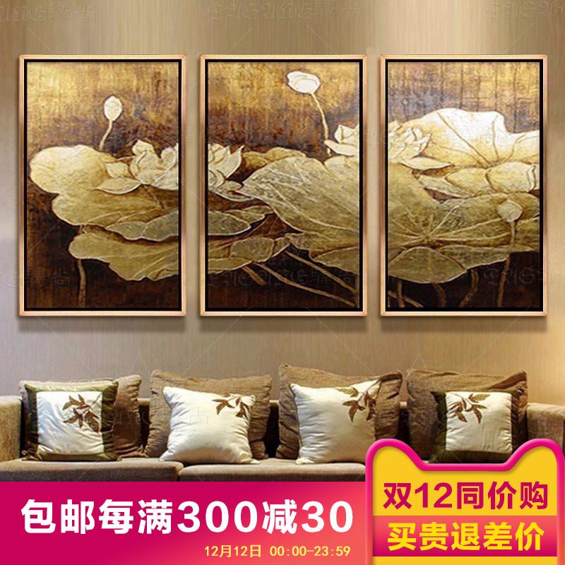 东南亚泰式手绘油画酒店客厅装饰画卧室书房抽象画金箔画荷花三联