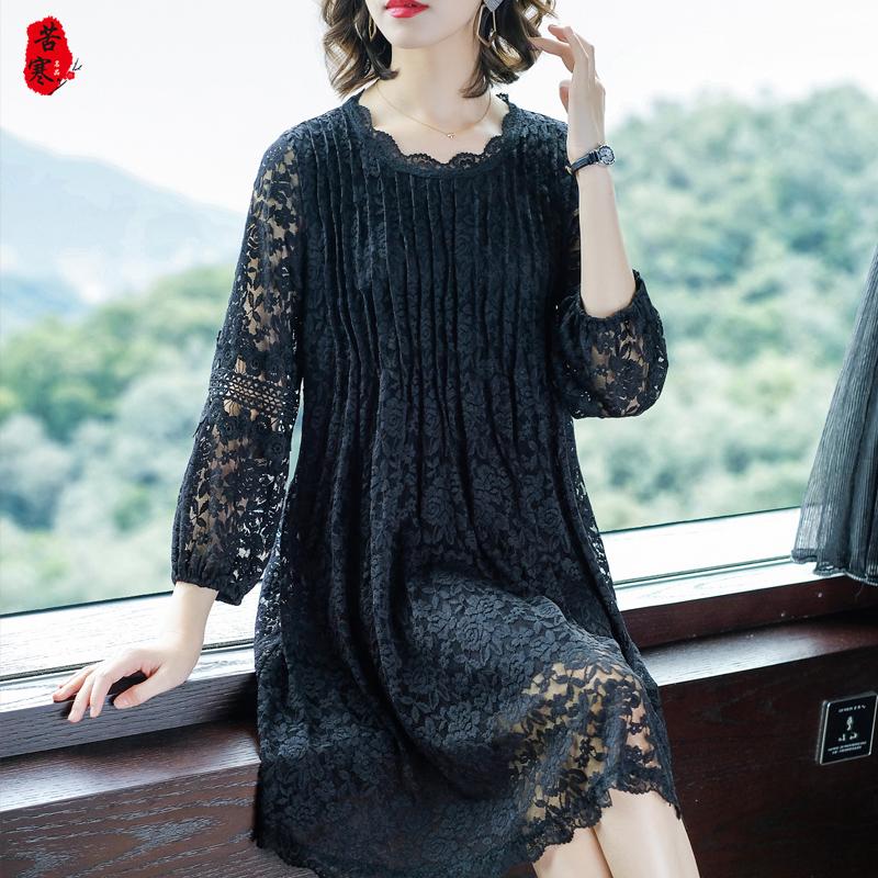 妈妈春装蕾丝连衣裙中长款40岁50中年女时尚显瘦遮肚中老年蕾丝裙