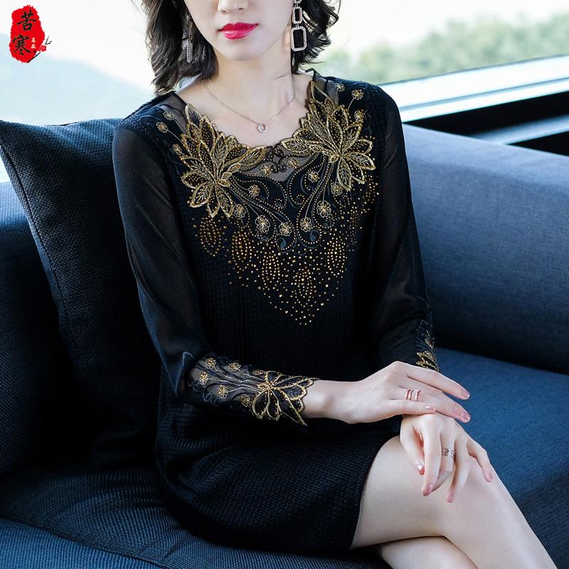 中老年连衣裙女春装40岁50中年女新款刺绣打底裙子妈妈中长款上衣