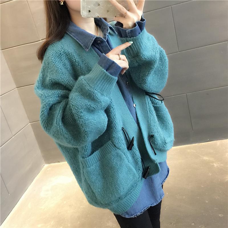 2019春季新款女装韩版纯色假两件针织开衫宽松慵懒口袋毛衣外套