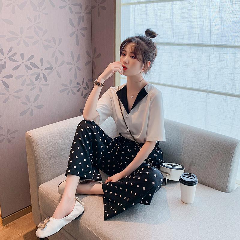 设计感小众chic甜美短袖衬衫夏季女2019新款韩版白色衬衣复古港味