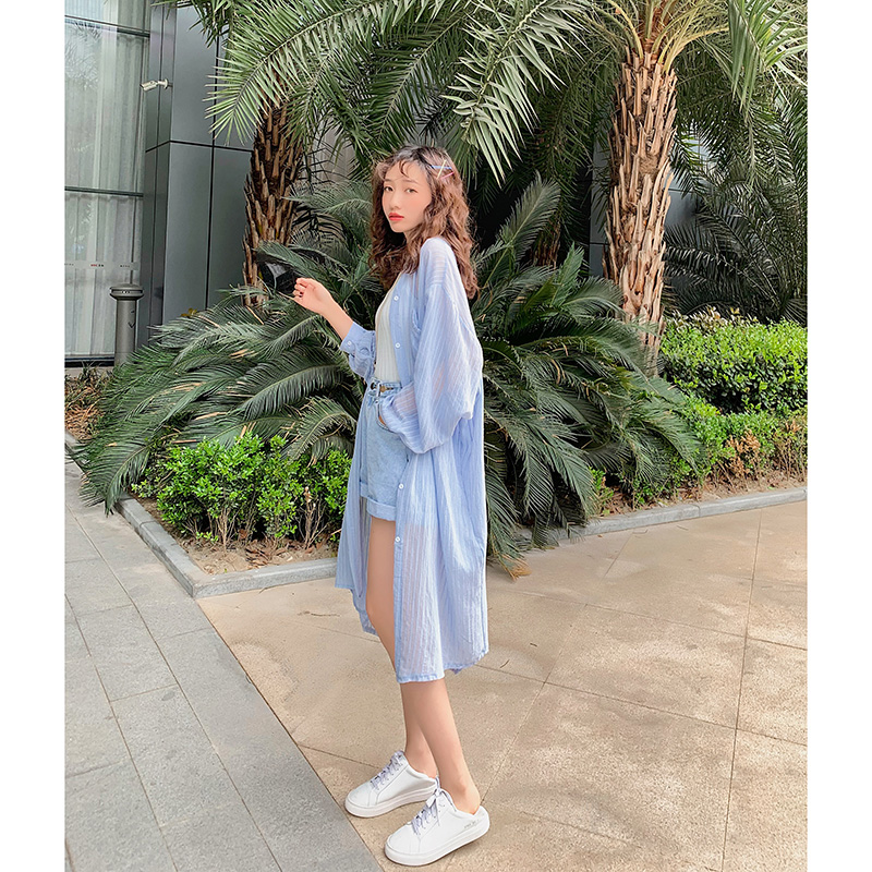 韩版中长款条纹衬衫女设计感小众衬衣潮2019夏装新款宽松防晒衣薄