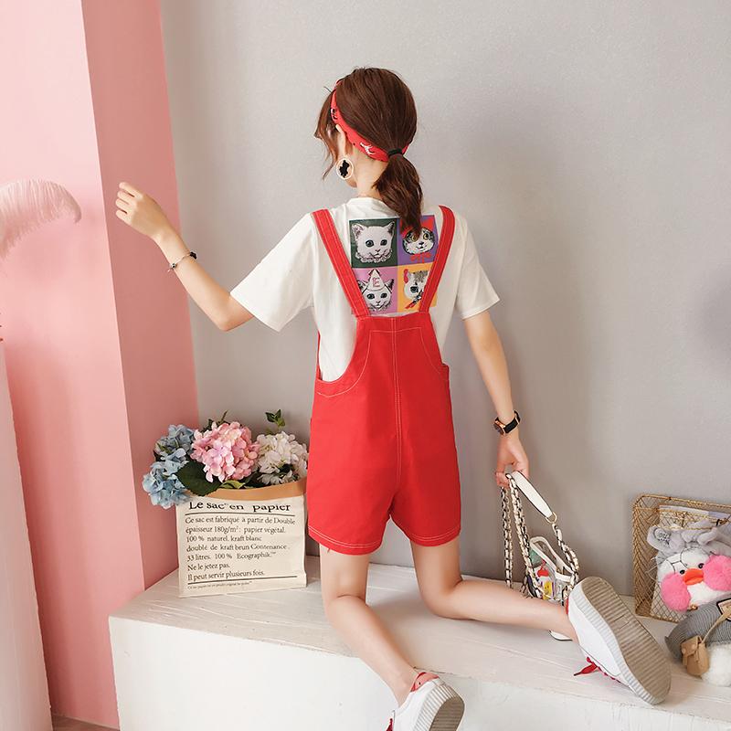 韩版小清新休闲宽松背带短裤短袖上衣两件套女夏2018新款时尚套装