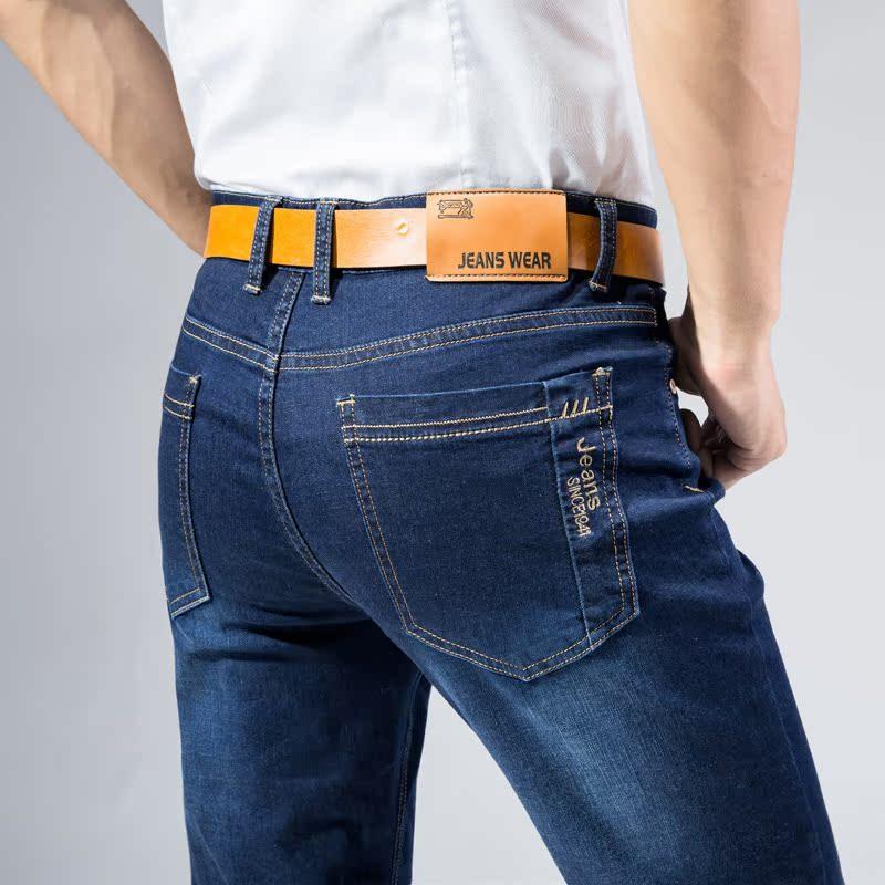 2017年秋冬新款黑色牛仔裤男 青年商务修身直筒弹性大码休闲长裤