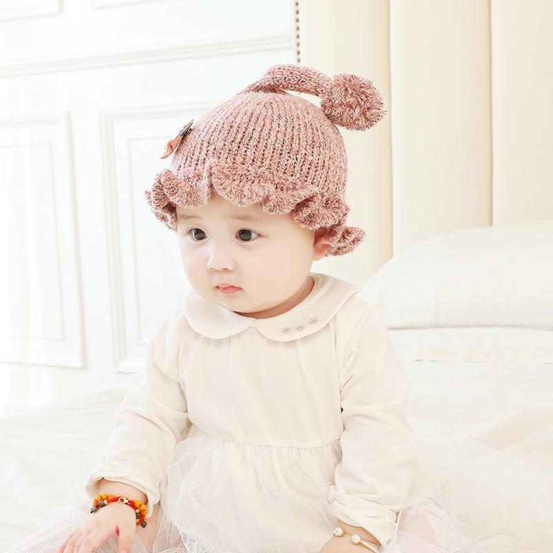 宝宝帽子秋冬季韩版婴儿帽女孩公主毛线帽0-3-6个月新生儿保暖帽