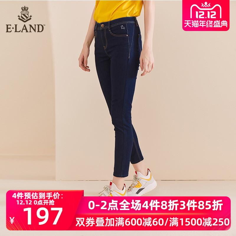 ELAND2019秋季新款女修身小脚裤铅笔裤紧身刺绣牛仔裤EETJ938O1C