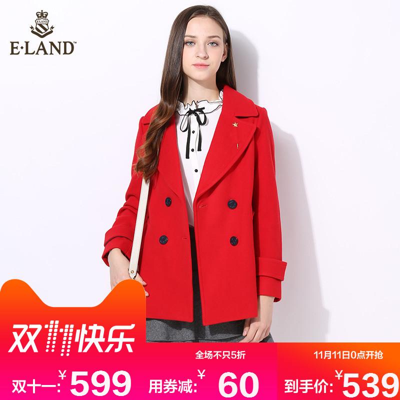 【预售定金60抵120】ELAND学院风西装毛呢外套女EEJW64T51M