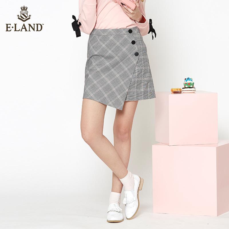 限时349 ELAND衣恋18新款学院风格纹不规则a字半身短裙子女