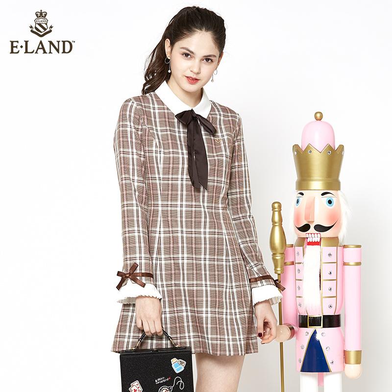 【预售】ELAND衣恋17年秋新品拼接袖口蝴蝶结装饰格子连衣裙女