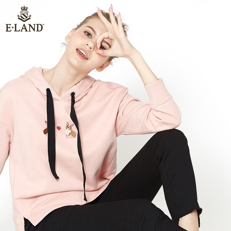 限时349|ELAND18女装新品连帽抽带开口衣摆刺绣图案套头卫衣女