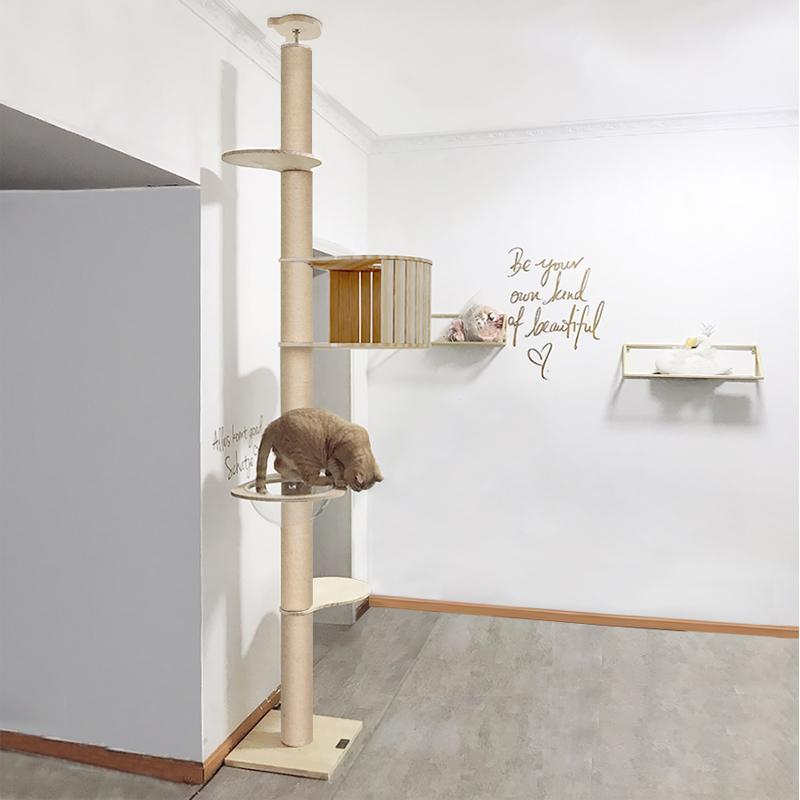 萌助 猫架猫爬架通天柱顶天立地 实木猫咪架猫跳台猫树屋塔太空舱图片