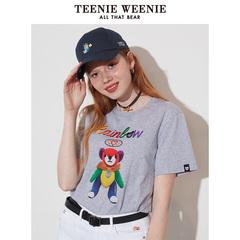 Teenie Weenie小熊2019秋季新款女装字母印花小熊图案圆领短袖T恤
