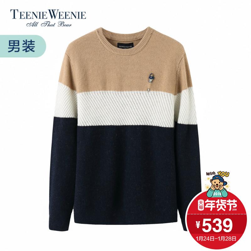 TeenieWeenie小熊2017冬男休闲拼色套头圆领毛衣TNKW74T06K