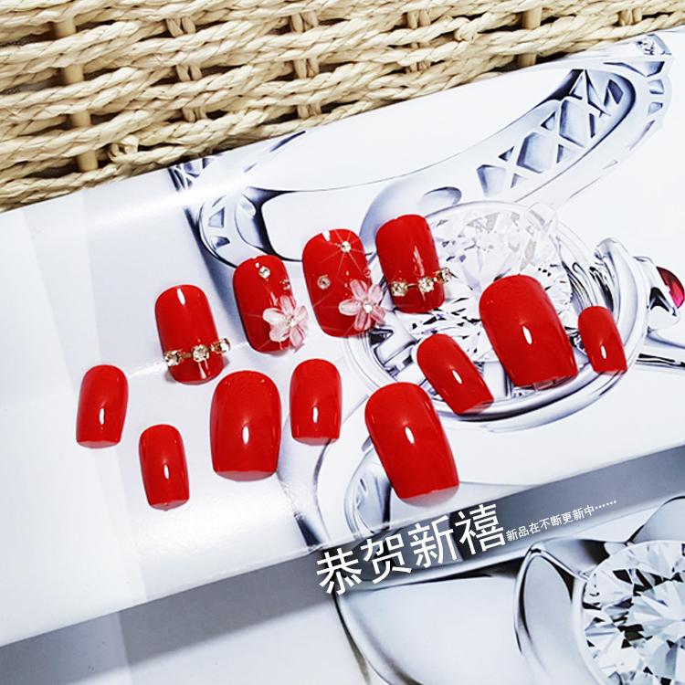 网红可拆卸美甲新娘拍照甲片 成品 假指甲贴片背胶款可拆卸指甲片