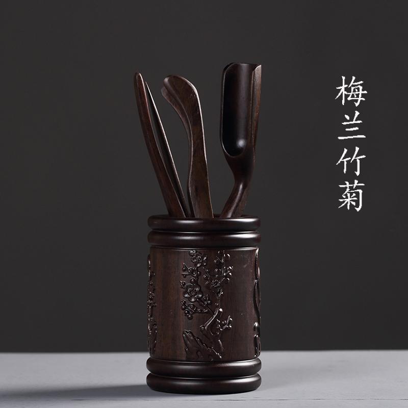 整块黑檀木茶道六君子套装实木雕刻茶道茶夹子功夫茶具零配件包邮
