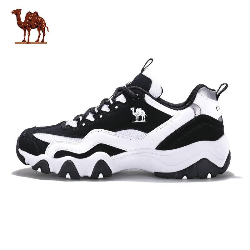 骆驼运动鞋女 黑白熊猫鞋跑步鞋休闲鞋2017新款透气轻便秋冬跑鞋