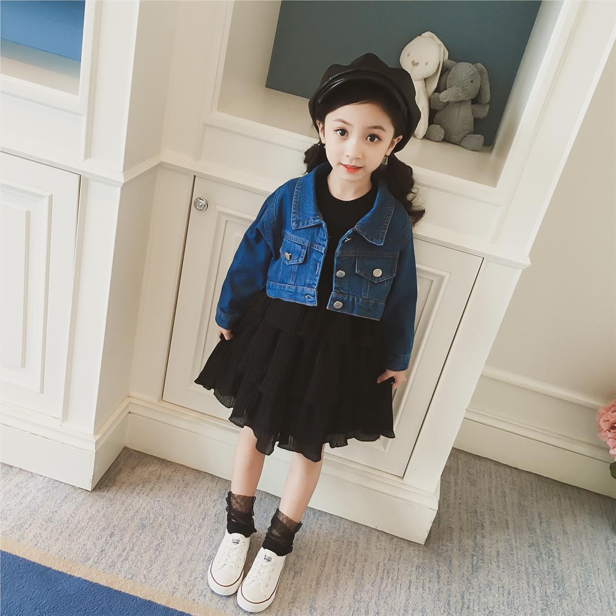 女童秋装2018新款套装韩版马甲牛仔外套+雪纺蛋糕裙连衣裙两件套