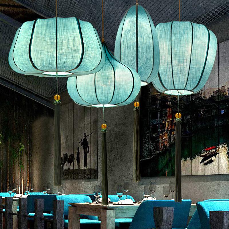 新中式吊灯灯笼灯中国风灯具禅意复古餐厅客厅灯创意灯饰餐馆饭店-升图中式