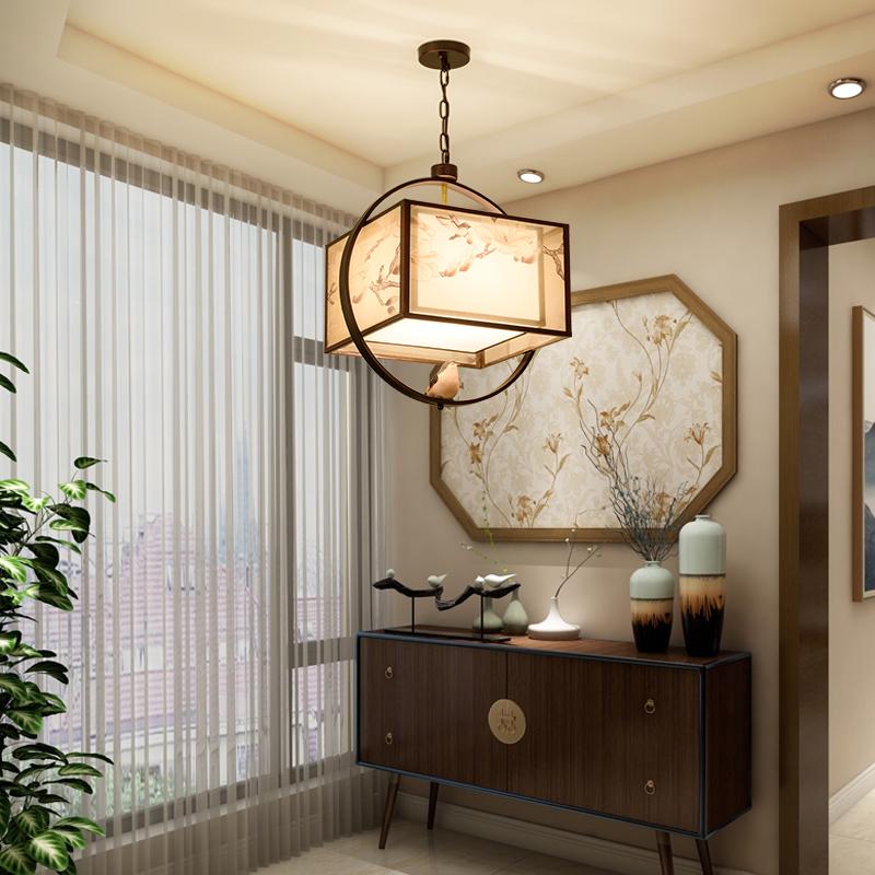 新中式小鸟吊灯中国风现代中式灯具客厅饭店创意餐厅书房灯禅意灯-升图中式
