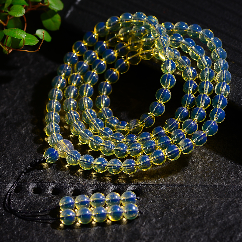 新款多米尼加蓝珀手串108颗佛珠多圈手链、蜜蜡琥珀圆珠男女款