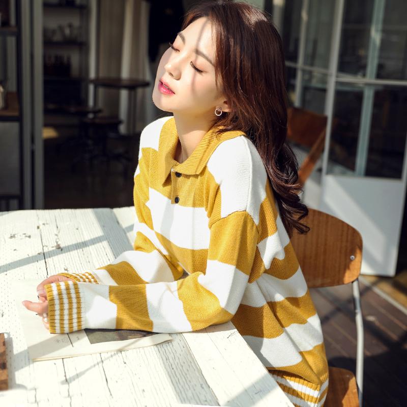 韩都衣舍2019韩版女装秋装新款宽松显瘦时尚条纹针织衫NH0294煜