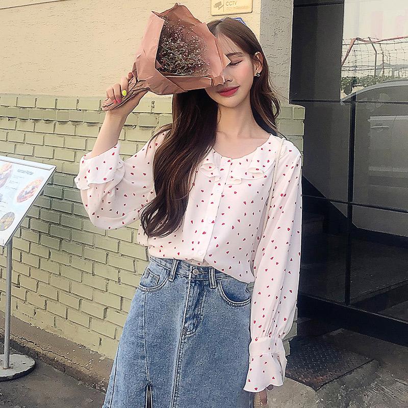 韩都衣舍2019甜美女装夏装新款荷叶边宽松潮波点雪纺衬衫LZ9092烎