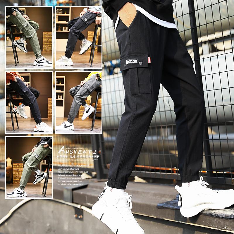 秋冬裤子男士韩版潮流束脚工装裤运动裤2019新款潮牌加绒休闲长裤